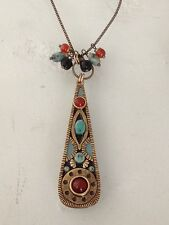 Artist MICHAL GOLAN Teardrop Pendant Charm Chain Drop Dangle Long NECKLACE