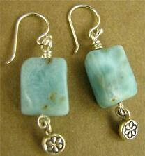 Larimar and silver dangle earrings. Fine and sterling silver. Designer handmade.