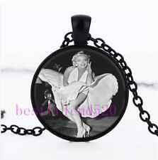 Sexy Marilyn monroe dress Cabochon Glass Black Necklace for woman Jewelry