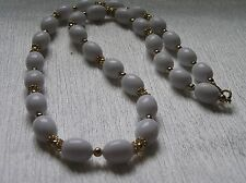 Vintage Trifari Signed Long White Oval Plastic w Goldtone Spacer Beads Necklace