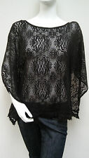 Umgee Black Sheer Floral Crochet Lace Fringe Trim Caftan Top Sz M/L New NWOT