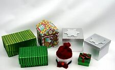 7 Christmas Gift Box Lot Miscellaneous Colors,Shapes & Sizes