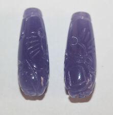 AAA  Carved Purple  Jade Drop Pair 28x10mm Gemstone