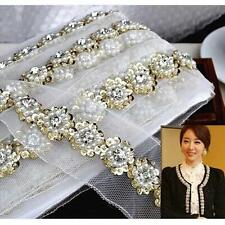 1yd Beaded Crystal Pearls Lace Ribbon Trim Braided Applique Crochet Sewing