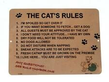 Cat's Rules 10+ Rules Fun Novelty Kitty 9x12 Metal Sign for Wall Made in USA