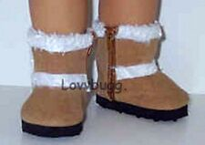 """Dark Tan Shearling Furry Uggly Boots for 18"""" American Girl Doll Best Selection!"""
