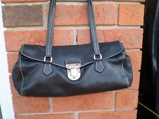 AUTHENTIC PRADA 100% BLACK LEATHER FOLD OVER HANDBAG NEAR MINT