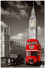 """Red London Bus With Big Ben Cityscape Art Silk Wall Posters 24x36"""""""