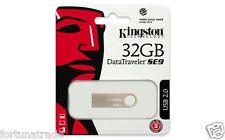 """32gb DTSE9 USB STICK KINGSTON in Silber aus Metall  NEU OVP """"Fortuna Trade"""" 32GB"""