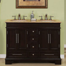 "48"" Compact Travertine Countertop Bathroom Vanity Small Double Sink Cabinet 224T"