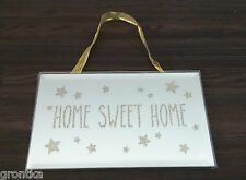 "Glitter Sparkling Gold Glass Mirrored Wall Plaque ""Home Sweet Home"" with Stars"