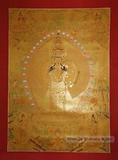 "41"" x 30.75"" Avalokiteshvara Tibetan Buddhist Gold Thangka Scroll Painting Nepal"