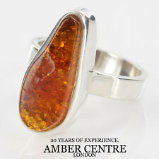 Pear Shaped Antique Baltic Amber In 925 Sterling Ring RRP £125; WR211; Size R