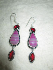 ~ Natural Pink Botswana Agate Gemstone & Red Glass Earrings ~ Jewellery ~