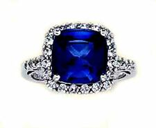 NEW 3.55CT VS2 G DIAMOND BLUE SAPPHIRE SQUARE CUT ENGAGEMENT RING 18K WHITE GOLD