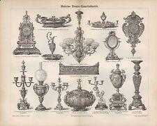 Lithografien 1886: Moderne Bronze-Kunst-Industrie. Glas-Blei-Spiegel Uhr Leuchte