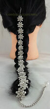 SILVER DIAMONTE SHORT CHOTI HAIR ACCESSORY/JEWELLERY(VA124SIL)BRIDAL/WEDDING