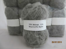 Mohair Wool Yarn 10 x 50g Balls Silver Grey 78% Mohair Double Knitting