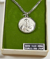 Silver Filled Jesus Medal Stainless Steel Chain In Original Gift Box