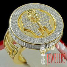 MENS REAL DIAMOND KING TUT EGYPTIAN PHARAOH PINKY BAND RING YELLOW GOLD FINISH