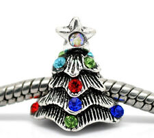 Holiday Christmas Tree Rhinestone Jewelry Bead for European Style Charm Bracelet