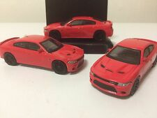 2016 DODGE HELLCAT CHARGER Greenlight Muscle Car Lot of (3) New Bright Red