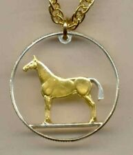 Horse Cut Coin Necklace, Gold on Silver  Jewelry ~ Irish 20 pence
