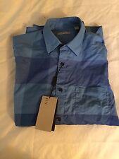 New Tag Authentic Nova Check Blue Navy Burberry Men Shirt RARE Small $295