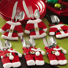 Hot 6 Pcs Happy Christmas Tableware Silverware Suit Christmas Dinner Party Decor