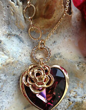 Necklace Wife Girl Friend Crystal Rose Red Heart Romantic Love