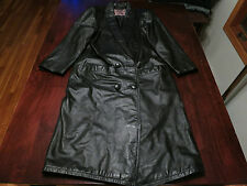 Womens International Leather Collection Long Trench Spy Coat Jacket Sz Petite S