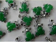 Wholesale 10PC beautiful green jade frog necklace pendant+Free Chain