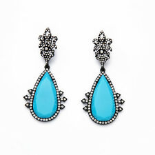 ZARA ELEGANT TURQUOISE BLUE CLEAR RHINESTONES 3 1/4'' DROP DANGLE EARRINGS NEW