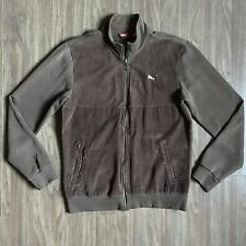 RARE PUMA CHOCOLATE BROWN TRACK JACKET SWEATER WITH CORDUROY FRONT MENS SZ M