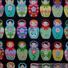 BonEful Fabric Cotton Quilt Rainbow Bright Matryoshka Russian Nesting Doll SCRAP