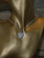 Platinum Plated Sterling Silver Necklace & Heart Shape Locket Created Diamonds