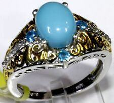 Sleeping Beauty Turquoise, Neon Apatite, White Topaz Ring (Size 7) TGW 2.19 Cts