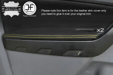 YELLOW STITCH 2X FRONT DOOR ARMREST LEATHER COVERS FITS FORD RANGER 2012-2016