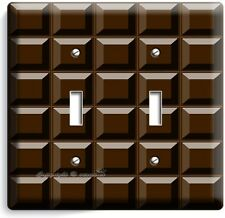 DARK CHOCOLATE BAR CUBES DOUBLE LIGHT SWITCH WALL PLATE CHEF KITCHEN ROOM DECOR