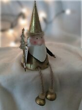 Christmas Gold Sitting Santa Decoration Metal Mantelpiece Ornament Heaven Sends