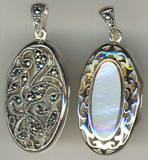 925 Sterling Silver Mother of Pearl & Marcasite Oval Locket Reversible 1.1/2""