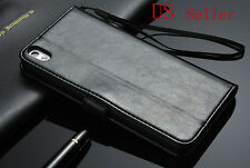 Black Luxury Leather Flip Wallet Case Cover Pouch For HTC Desire 816