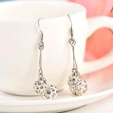 Women Charm Rhinestone Dangle Ear Stud Drop Earrings Crystal Bride Jewelry Gifts