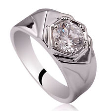 .925 Sterling Silver Men Ring Size 10 with 6-prong Clear CZ Gift for Boyfriend