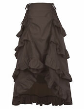 Gothic Corset LONG Skirt Victorian Steampunk Ruffle Vintage MAXI Skirt Red Black