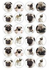 24 Carlino Pug Dog wafer / carta di riso per cupcake topper commestibili Fata Torta Decorazioni Per Chignon