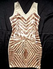 NWT bebe beige ivory nude gold sequin mesh cutout back skirt top dress XS 0 2