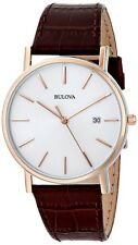 Bulova 98H51 Slim Stainless Rose Gold Case Brown Leather Band Men Analog Watch