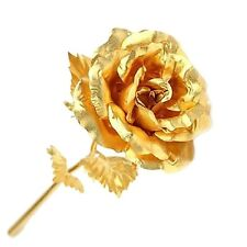 "24K Gold Dipped Foil Rose 10"" Long Stem Flower Decor Valentine Gift Box @USA"
