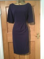 L K Bennett Plum Purple Dress Lined Size 12 Flattering 3/4 Sleeves Stunning